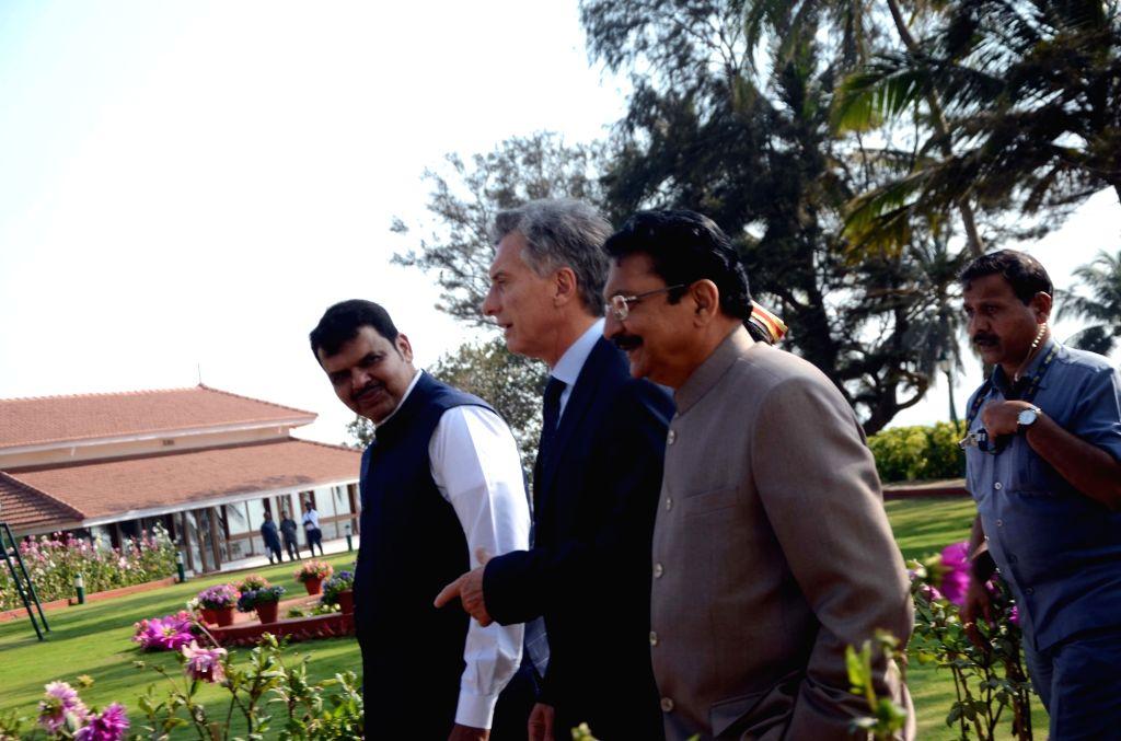 Argentine President Mauricio Macri with Maharashtra Governor Chennamaneni Vidyasagar Rao and Chief Minister Devendra Fadnavis at Raj Bhavan in Mumbai, on Feb 19, 2019. - Devendra Fadnavis and Chennamaneni Vidyasagar Rao