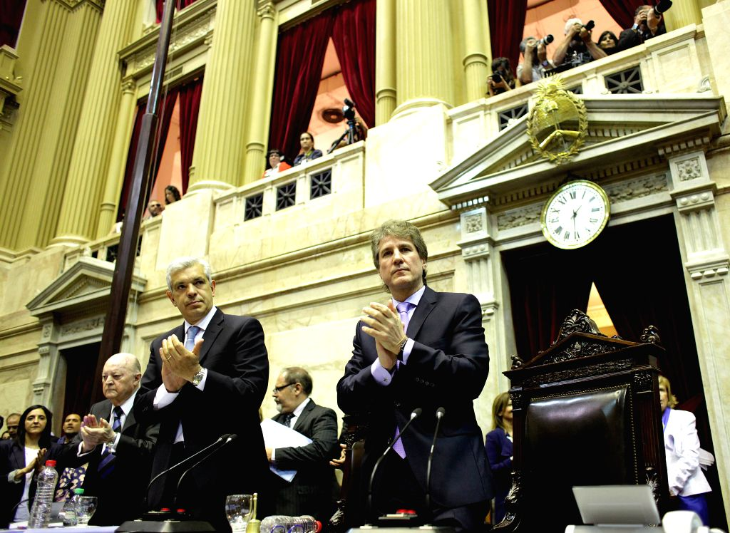 Argentine Vice President Amado Boudou (R) takes part in a plenary meeting of the Legislative Assembly in Buenos Aires Dec. 4, 2015. The Legislative Assembly on ...