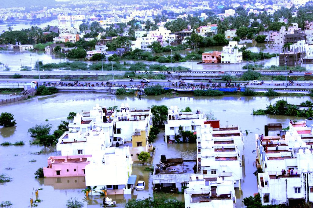 Arial view of flood affected area of Kanchipuram district in Tamil Nadu on 16 Nov 2015.