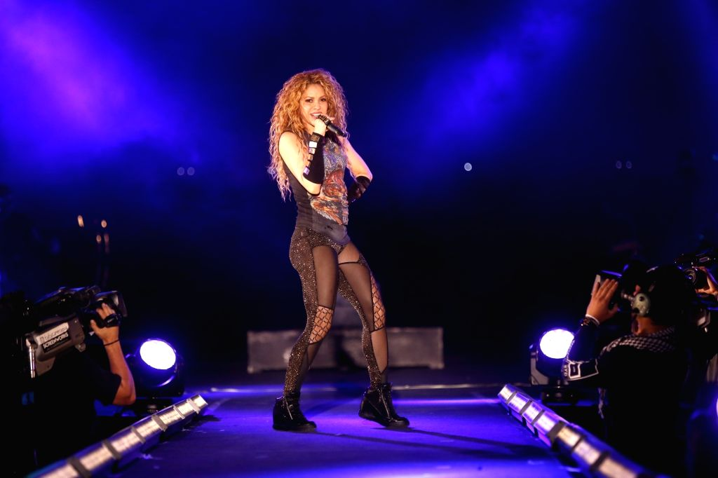 ARIZ (LEBANON), July 13, 2018 Colombian pop star Shakira performs in a special concert during Cedars International Festival in Ariz, Lebanon, on July 13, 2018.