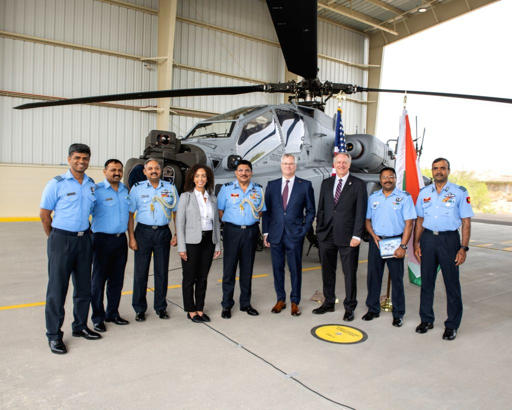 Arizona (US): A view of the first AH-64E (I) - Apache Guardian helicopter that was formally handed over to the Indian Air Force (IAF) at Boeing production facility in Mesa, Arizona, USA on May 10, ...