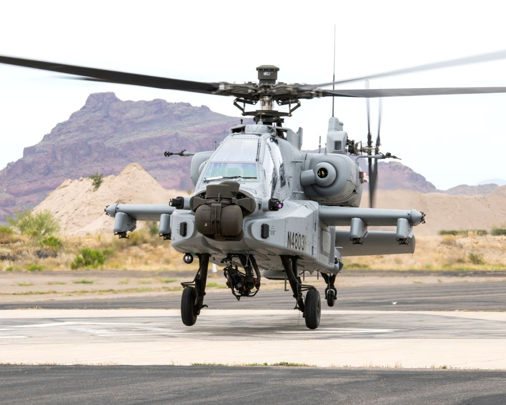 Arizona (US): A view of the first AH-64E (I) - Apache Guardian helicopter that was formally handed over to the Indian Air Force (IAF) at Boeing production facility in Mesa, Arizona, USA on May 10, 2019. (Photo: IANS)
