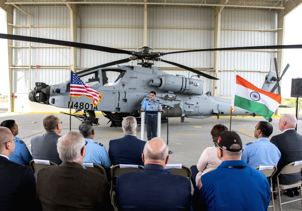 Arizona (US): Air Marshal A.S. Butola addresses at a ceremony where the first AH-64E (I) - Apache Guardian helicopter was formally handed over to the Indian Air Force (IAF) at Boeing production ...