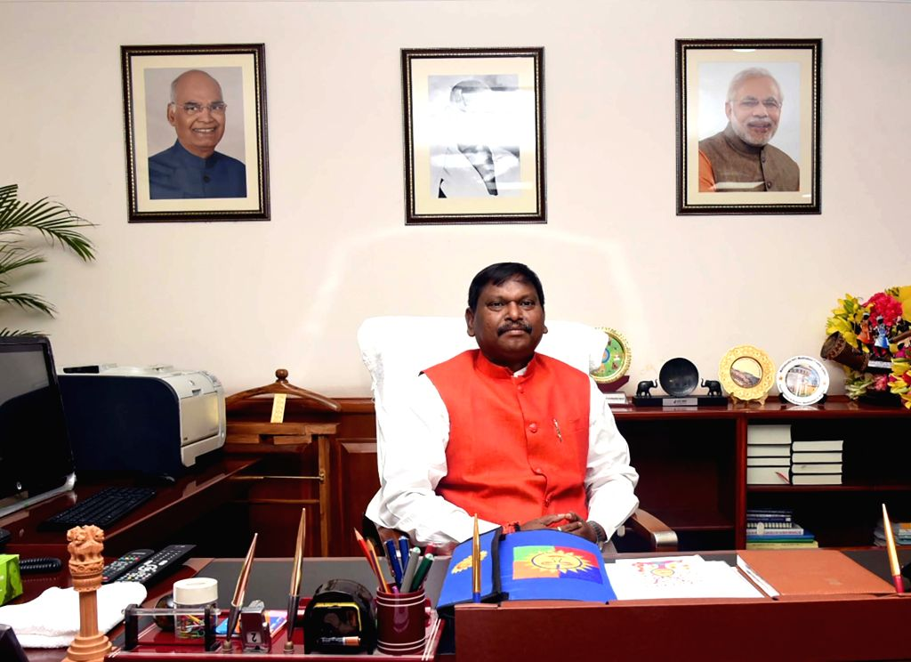 Arjun Munda takes charge as the Union Minister for Tribal Affairs, in New Delhi on June 3, 2019. - Arjun Munda