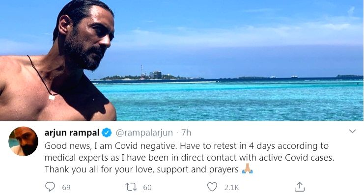 Arjun Rampal tests Covid negative, to re-test in 4 days - Arjun Rampal