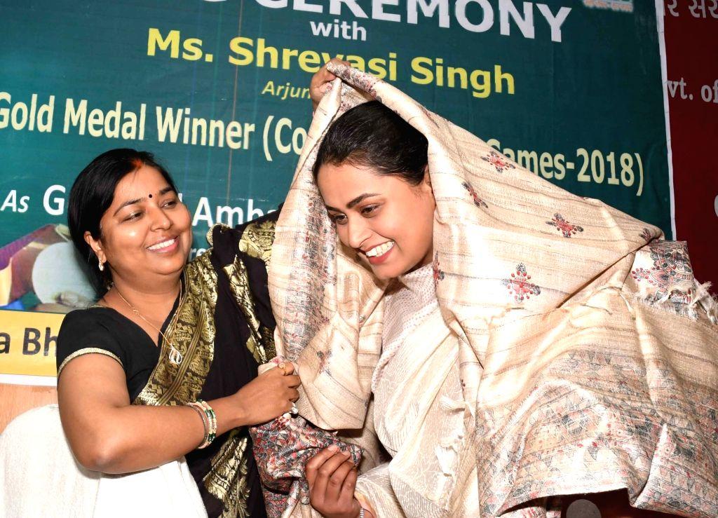 Arjuna Award winner shooter Shreyasi Singh during a programme organised by Bihar government in Patna, on March 6, 2019. - Shreyasi Singh