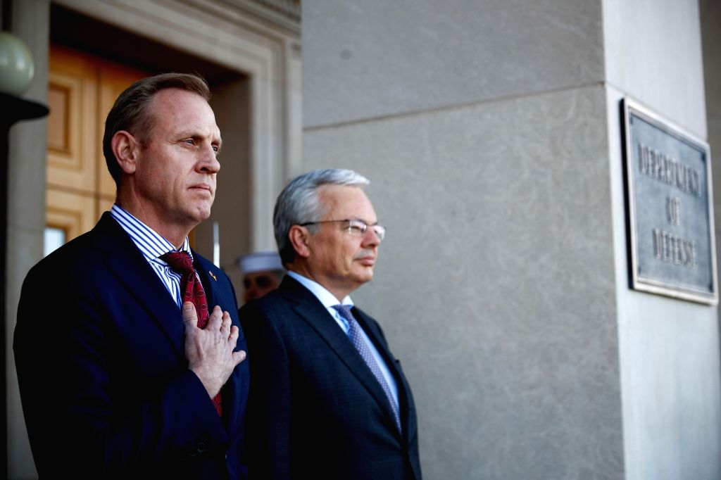 ARLINGTON, Feb. 22, 2019 - Acting U.S. Secretary of Defense Patrick Shanahan (L) welcomes Belgium Minister of Defense Didier Reynders (R) at the Pentagon in Arlington, the United States, Feb. 21, ...