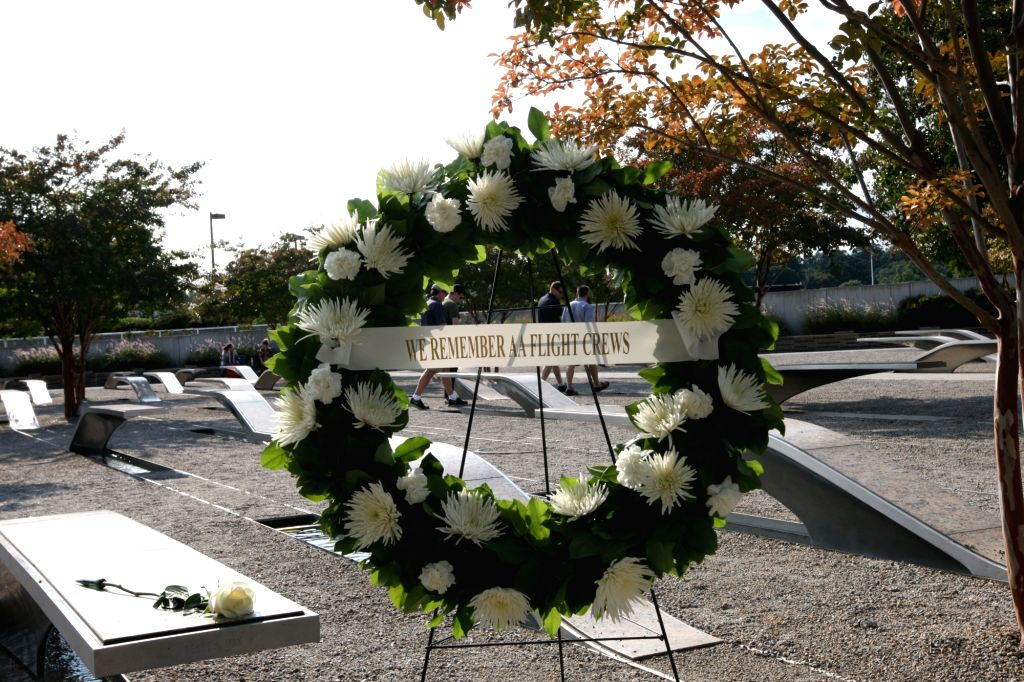 ARLINGTON, Sept. 11, 2017 - A wreath in honor of the victims of the September 11, 2001 attacks is seen at the Pentagon Memorial in Arlington, Virginia, the United States, Sept. 10, 2017.