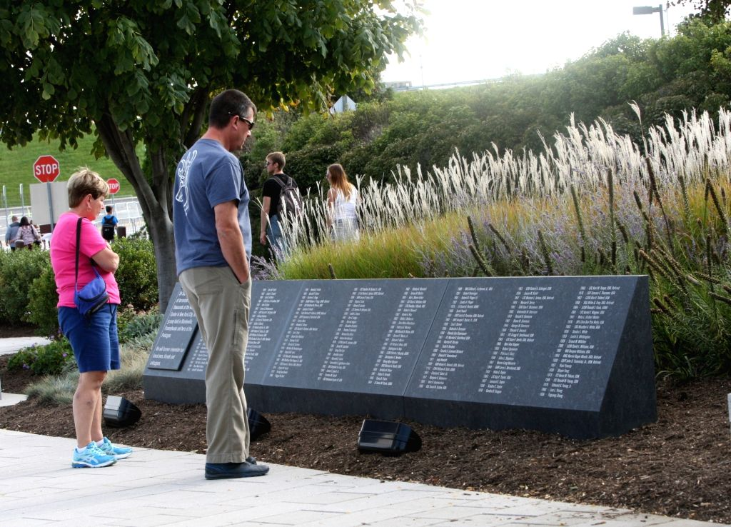 ARLINGTON, Sept. 11, 2017 - People visit the Pentagon Memorial in honor of the victims of the September 11, 2001 attacks in Arlington, Virginia, the United States, Sept. 10, 2017.