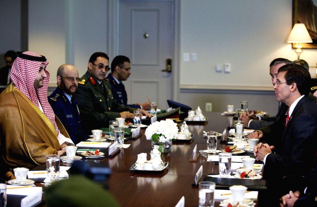 ARLINGTON (U.S.), Aug. 29, 2019 (Xinhua) -- U.S. Secretary of Defense Mark Esper (1st R) meets with Prince Khalid bin Salman (1st L), Saudi Arabia's Vice Minister of Defense, at the Pentagon in Arlington, Virginia, the United States, on Aug. 29, 2019