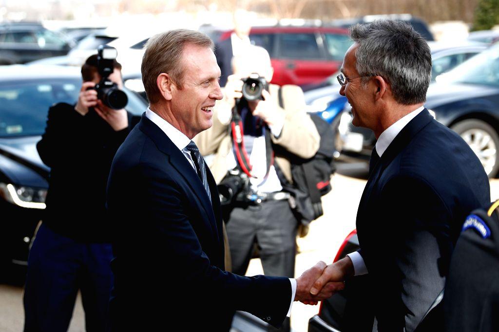 ARLINGTON (U.S.), Jan. 28, 2019 Acting U.S. Secretary of Defense Patrick Shanahan (front, L) welcomes NATO Secretary General Jens Stoltenberg (front, R) upon his arrival at the Pentagon ...