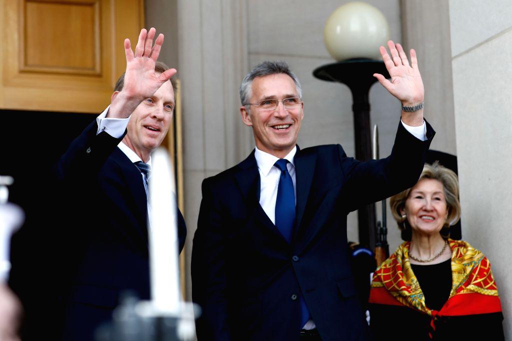 ARLINGTON (U.S.), Jan. 28, 2019 Acting U.S. Secretary of Defense Patrick Shanahan (L) welcomes NATO Secretary General Jens Stoltenberg (C) upon his arrival at the Pentagon in Arlington, ...