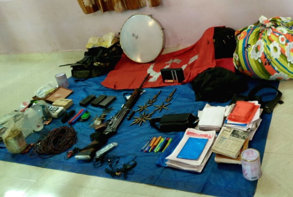 Arms and ammunition recovered from a woman Maoist commander who was shot dead in of Gadchiroli district of Assam on April 20, 2016.