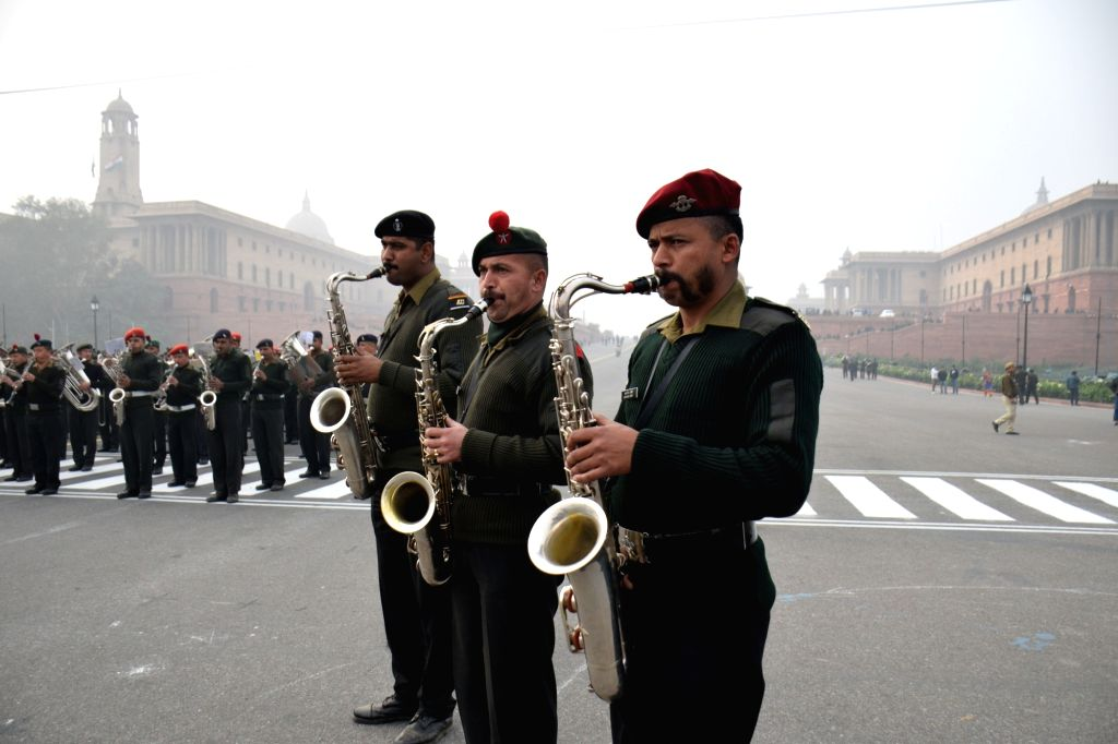 Army Band rehearses for the beating retreat ceremony at Vijay Chowk in New Delhi, on Jan 19, 2016.
