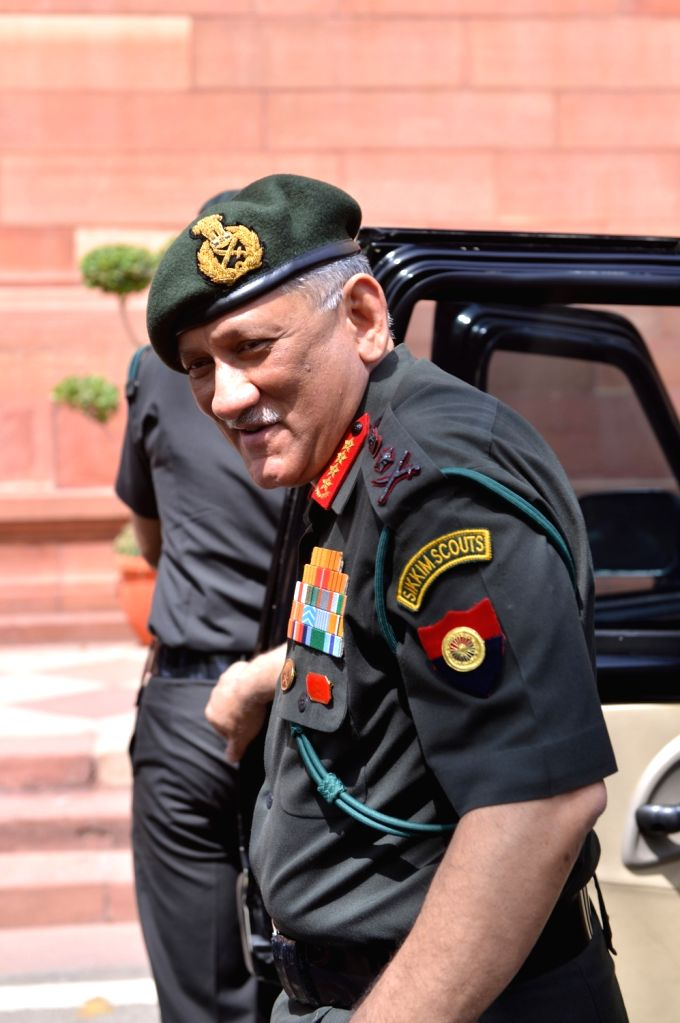 Army Chief Bipin Rawat at Parliament on March 27, 2018