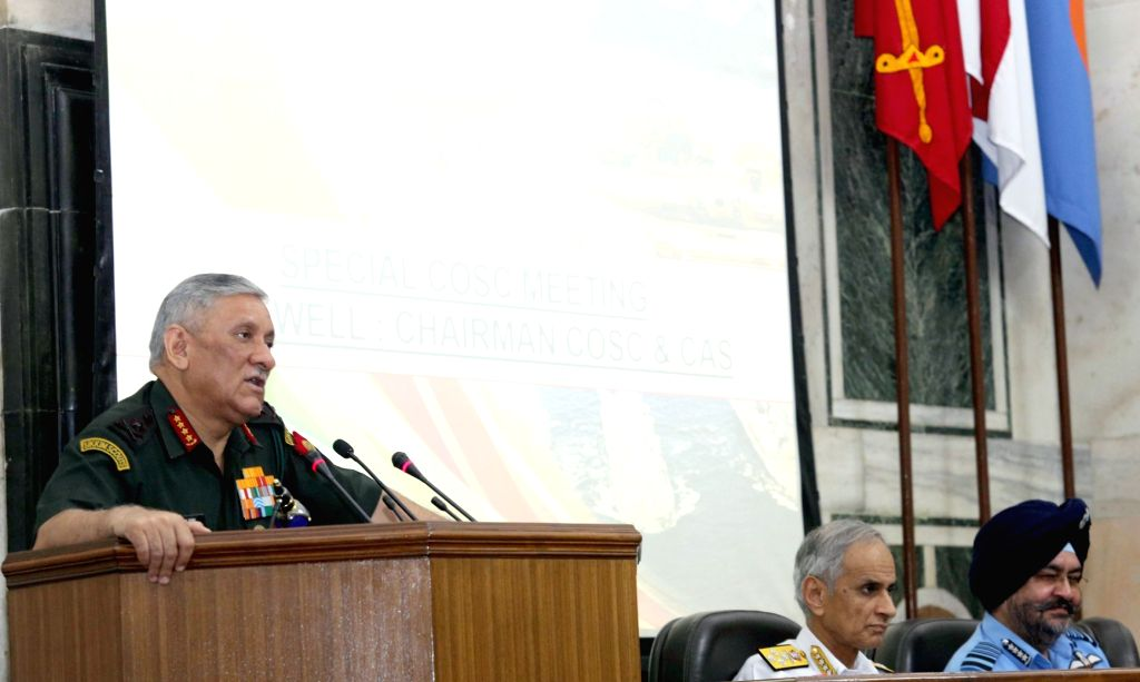 Army Chief General Bipin Rawat addresses after taking over as the Chairman, Chiefs of Staff Committee (COSC), at a function, in New Delhi on Sep 27, 2019.