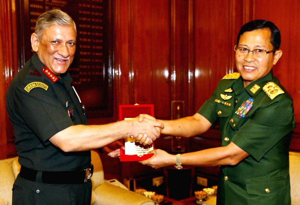 Army Chief General Bipin Rawat and Myanmar Deputy Commander-in-Chief, Defence Services and Commander-in-Chief (Army), Vice Senior General Soe Win exchange momento, in New Delhi on Sept 18, ...
