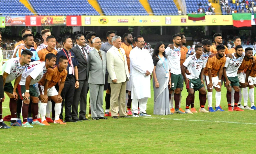 Army chief General Bipin Rawat and West Bengal Sports Minister Aroop Biswas at Durand Cup final between Mohun Bagan A.C. and Gokulam Kerala FC, in Kolkata on Aug 24, 2019. - Aroop Biswas