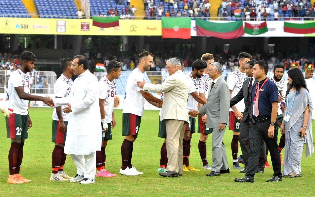 Army chief General Bipin Rawat and West Bengal Sports Minister Aroop Biswas meet Mohun Bagan A.C. players at Durand Cup final between Mohun Bagan A.C. and Gokulam Kerala FC, in Kolkata on ... - Aroop Biswas