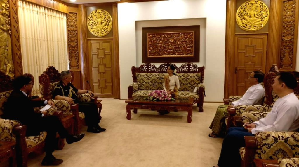 Army Chief General Bipin Rawat meets Myanmar's State Counsellor Aung San Suu Kyi in Myanmar on May 29, 2017.