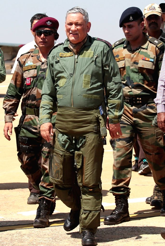 """Army chief General Bipin Rawat who took a ride in Tejas fighter aircraft during """"Aero India 2019"""" - air show at Yelahanka Air Force Station, in Bengaluru, on Feb 21, 2019."""