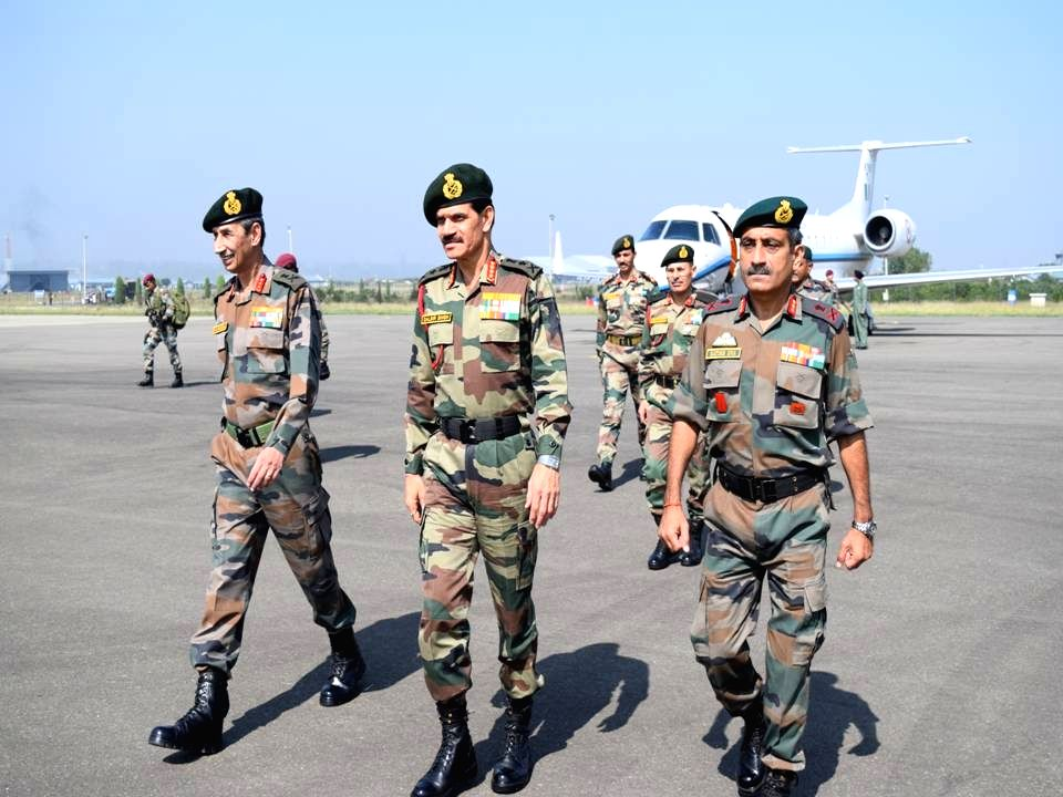 Army chief General Dalbir Singh Suhag arrives at Srinagar to review situation in Kashmir valley on Sept 9, 2016. - Dalbir Singh Suhag