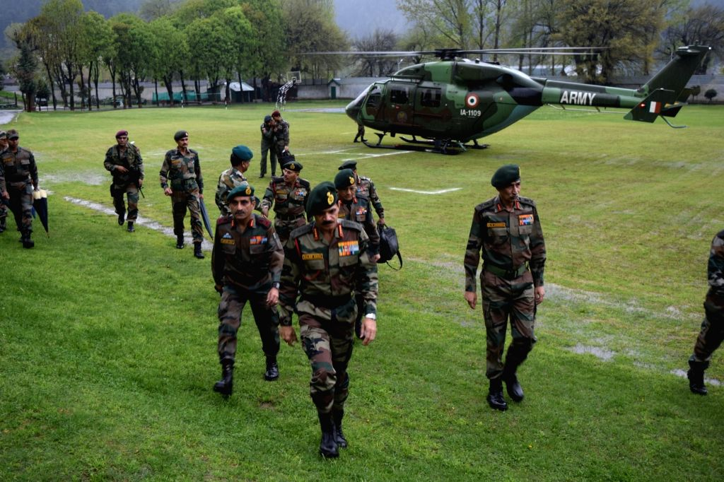 Army chief General Dalbir Singh visits north Kashmir's Kupwara district where five people were killed last week in clashes with security forces. - Dalbir Singh