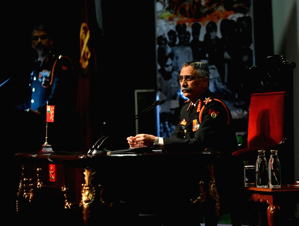 Army chief General Manoj Mukund Naravane addresses during the annual press conference at the Manekshaw Centre in New Delhi on Jan 11, 2020.
