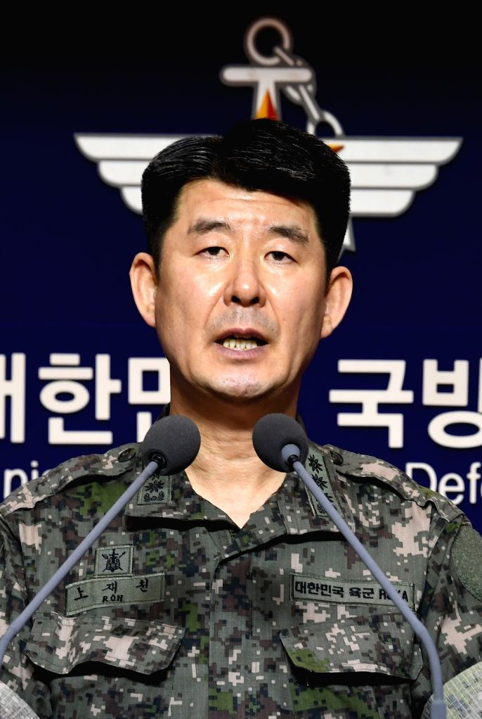 Army Col. Roh Jae-cheon, spokesman for the Joint Chiefs of Staff, speaks during a press conference at the Defense Ministry in Seoul on Sept. 15, 2017. The South Korean Army fired a Hyunmoo-II missile ...