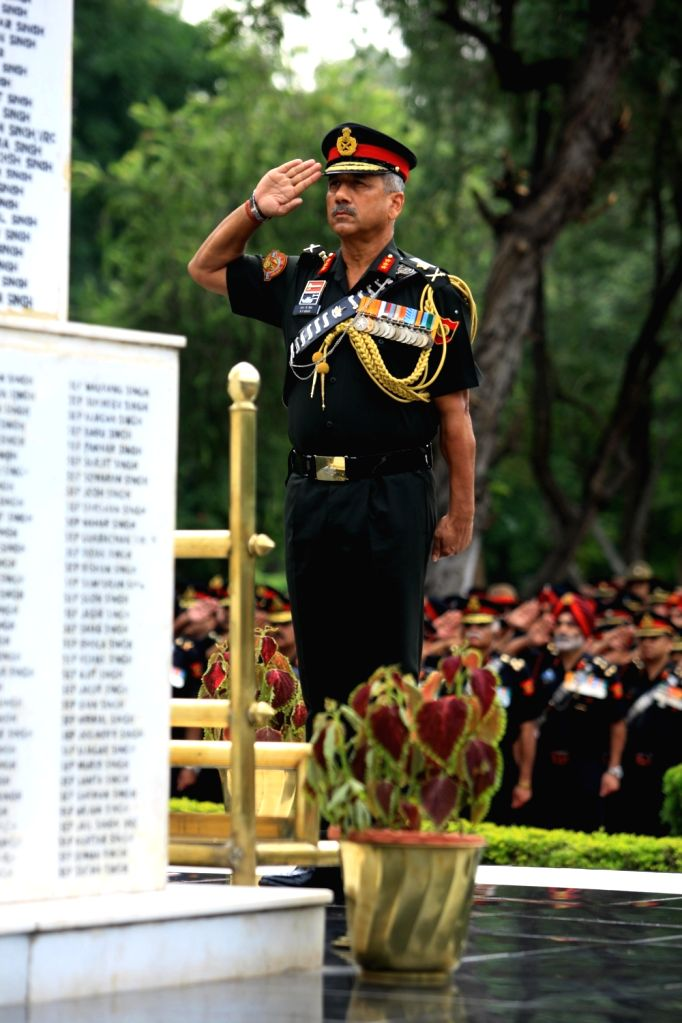 Army Commander, Western Command, Lieutenant General RP Singh pays homage to the gallant heroes of Western Command at the Veer Smriti in Haryana's Chandi Mandir on Sep 15, 2019.