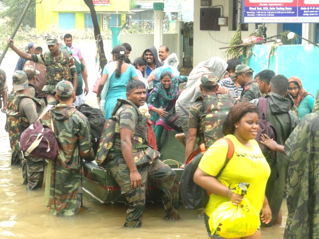 Army conducts rescue operation in the flooded areas of Chennai on Dec 3, 2015.