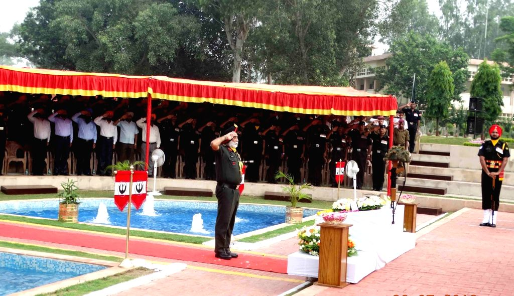 Army officals pay tribute to the soldiers who sacrificed their lives on the occasion of Kargil Vijay Diwas at the Vajra War Memorial in Jalandhar, on July 26, 2016.