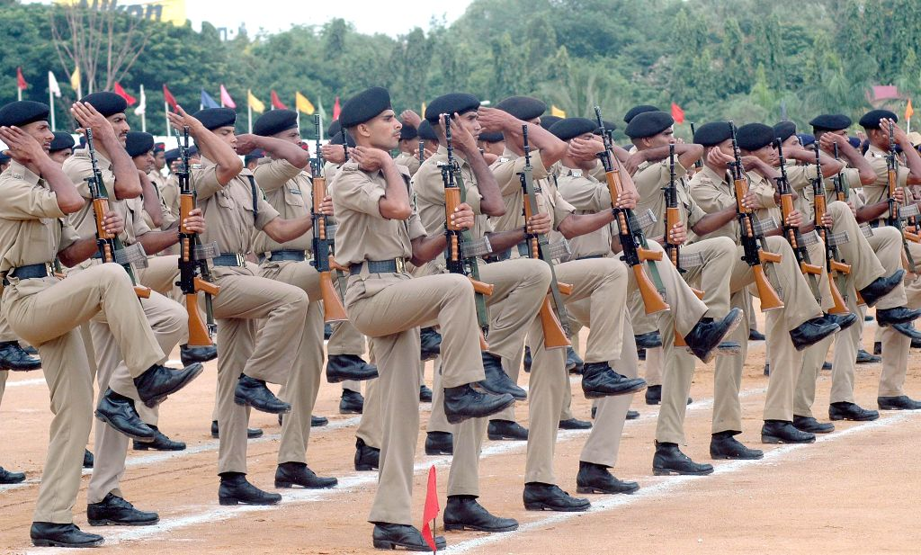 Army personnel during Independence Day rehearsals at Manekshaw Parade Ground in Bangalore on Aug 12, 2014.