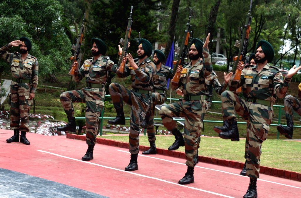 Army personnel during the 20th Anniversary celebrations of Kargil Vijay Diwas at War Memorial in Dharamsala, Himachal Pradesh on July 26, 2019.