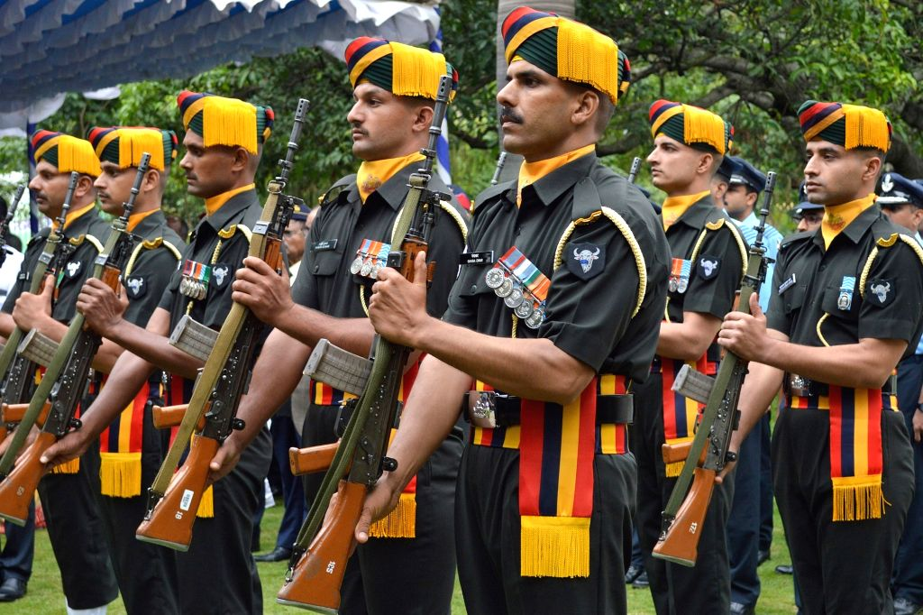 Army personnel pay tributes to martyrs on the 20th Anniversary of Kargil Vijay Diwas, at the National Military Memorial in Bengaluru on July 26, 2019.
