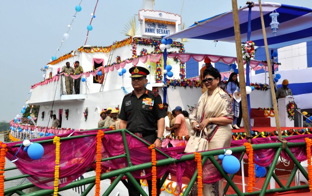 Army's Kolkata-headquartered Eastern Command head Lt General Abhay Krishna and his wife Bibha Krishna during the launch of  Fast Patrol Vessel built by Garden Reach Shipbuilders and ...