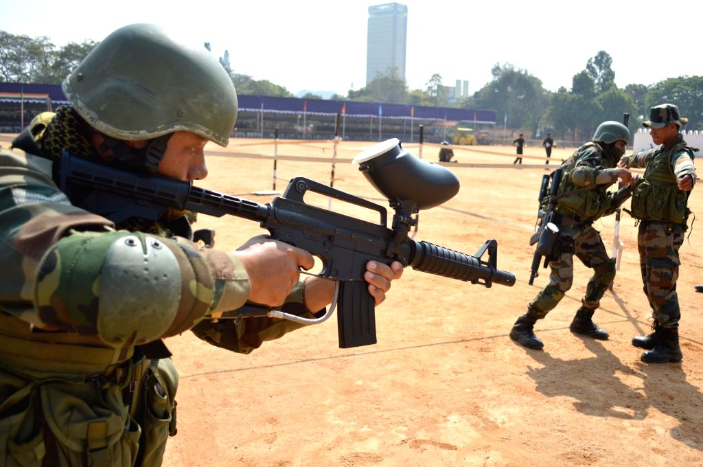 Army soldiers rehearse for 2019 Republic Day celebrations at Manekshaw Parade Grounds in Bengaluru on Jan 23, 2019.