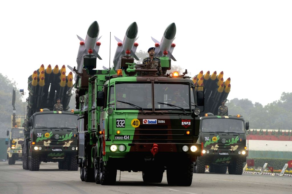 Army trucks during Army Day Parade in New Delhi, on Jan 15, 2016.
