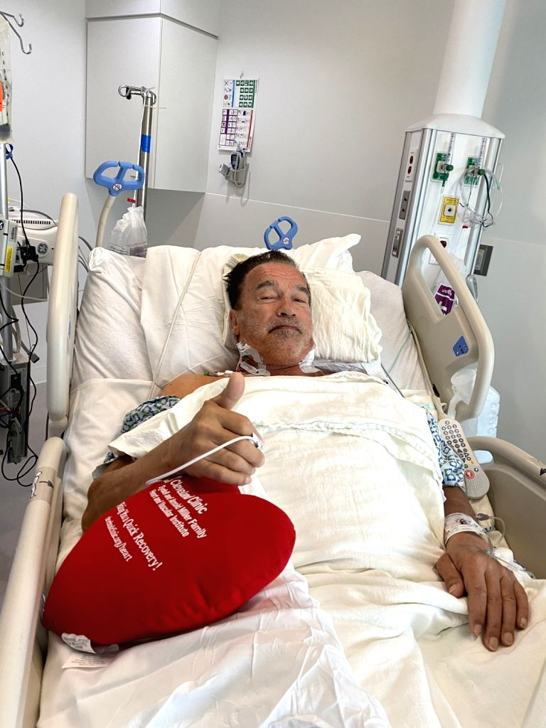 Arnold Schwarzenegger doing well after heart surgery.