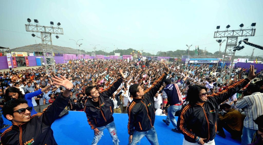 Around 5000 students took part in a dance program during a `Winter Carnival 2013` in Kolkata on Dec 21, 2013.