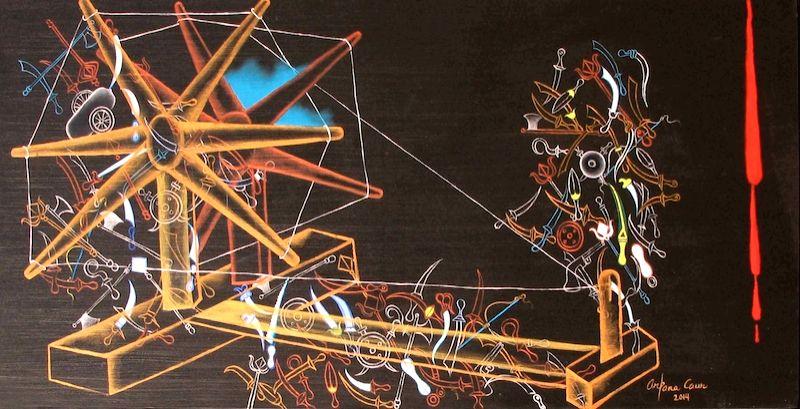 Arpana Caur, Lost Histories, 33x66 inches, oil on canvas, 2014. (Source: Triveni Kala Sangam)