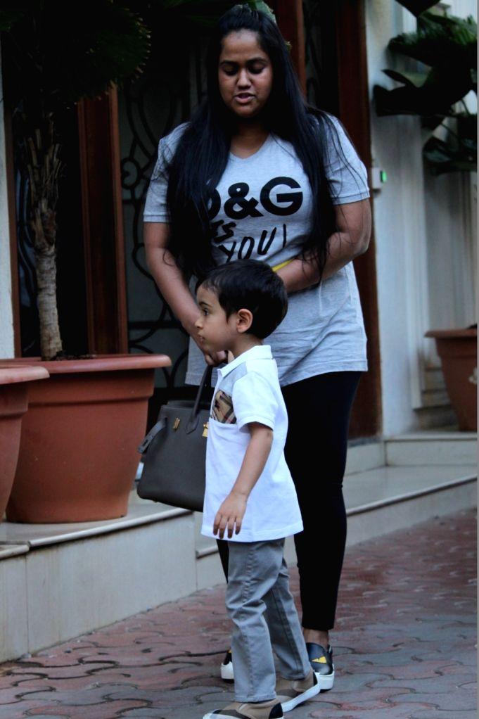 Arpita Khan and her son Ahil Sharma during birthday celebrations of actress Shilpa Shetty's son Viaan in Mumbai on May 25, 2019. - Shilpa Shetty, Arpita Khan and Ahil Sharma