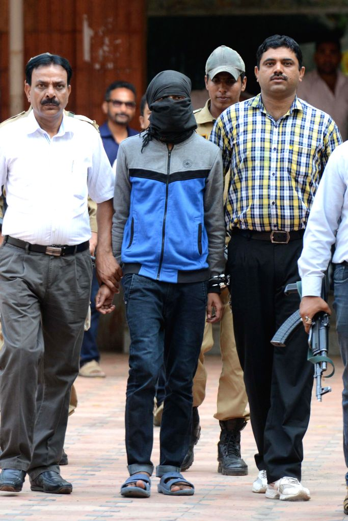 Arrested member of Indian Mujahideen, Ajaz Shiekh, allegedly involved in Jama Masjid Bomb Blast at Patiala House Court in New Delhi on Sept. 6, 2014.