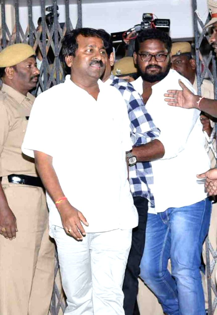 Art Director Chinna arrives to appear before Special Investigation Team (SIT) in connection with Hyderabad drug racket case; in Hyderabad on July 25, 2017.