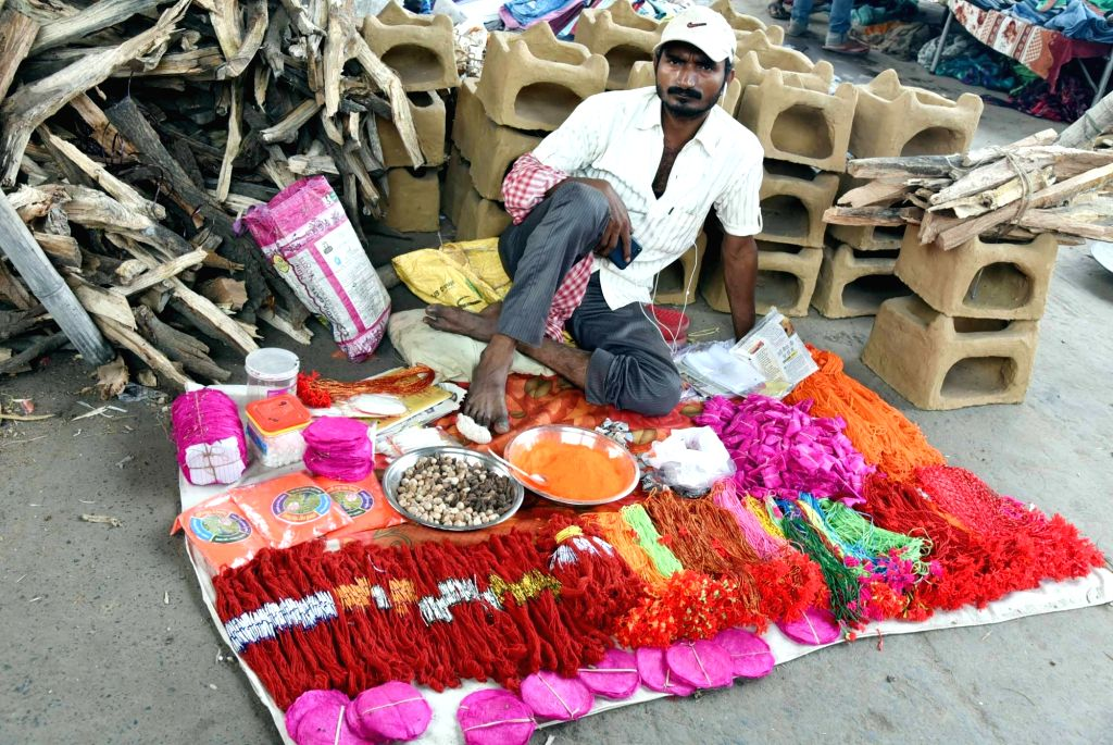 Articles needed to perform rituals during Chhath Puja celebrations, on sale on the eve of the festival, in Patna on Oct 30, 2019.