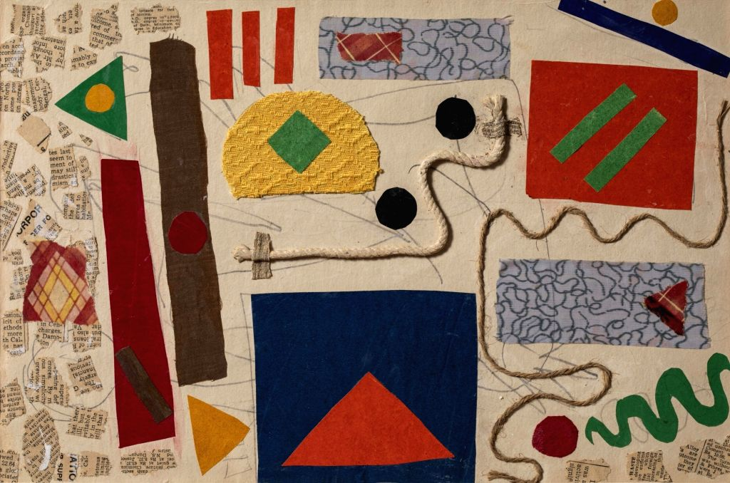 "Artist  : Benode Behari Mukherjee Title   : Abstract Composition with string and Fabric Medium  : Collage on paper Size    : 10"" x 15"