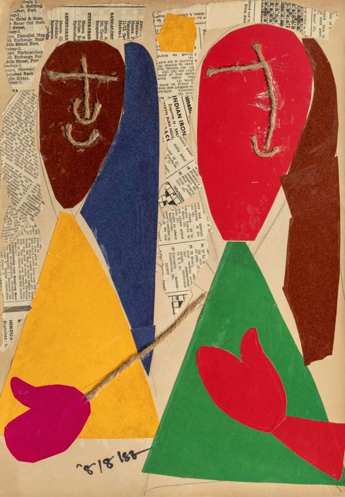 "Artist  : Benode Behari Mukherjee Title   : Faces with Sutli Medium  : Collage on paper Size    : 15.5"" x 10.5"""