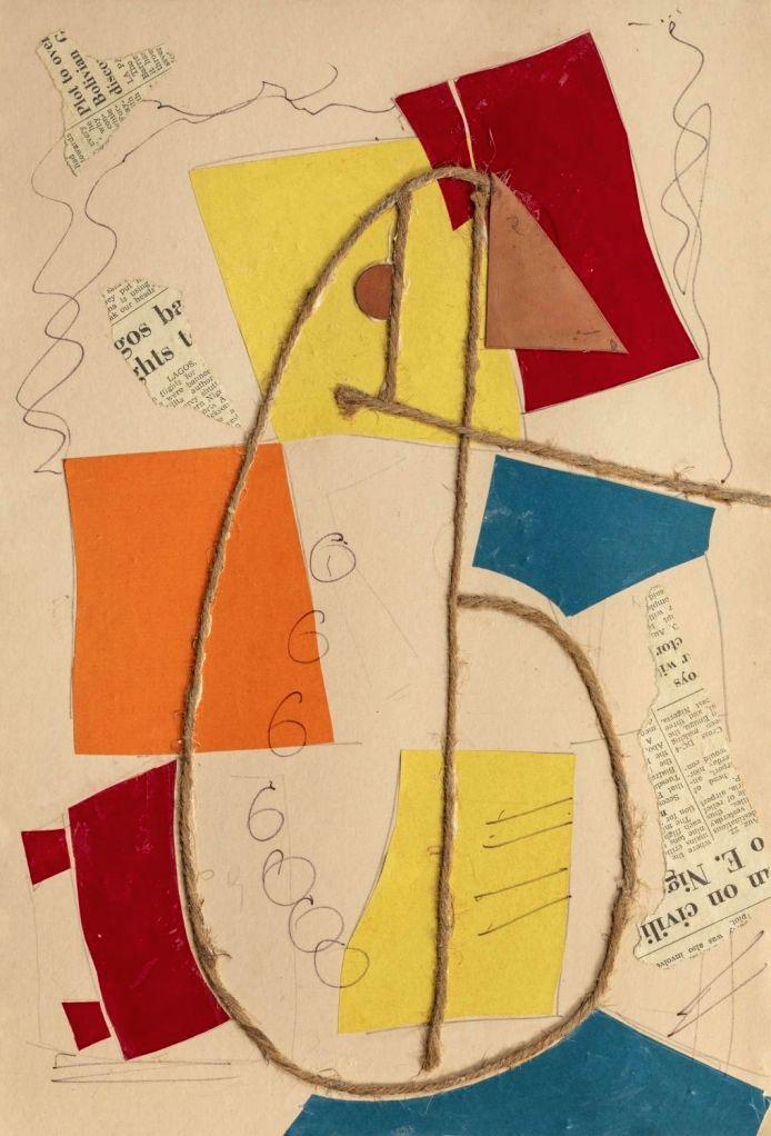 "Artist  : Benode Behari Mukherjee Title   : Seated Figure (Sutli) Medium  : Collage on paper Size    : 15.5"" x 10.5"""