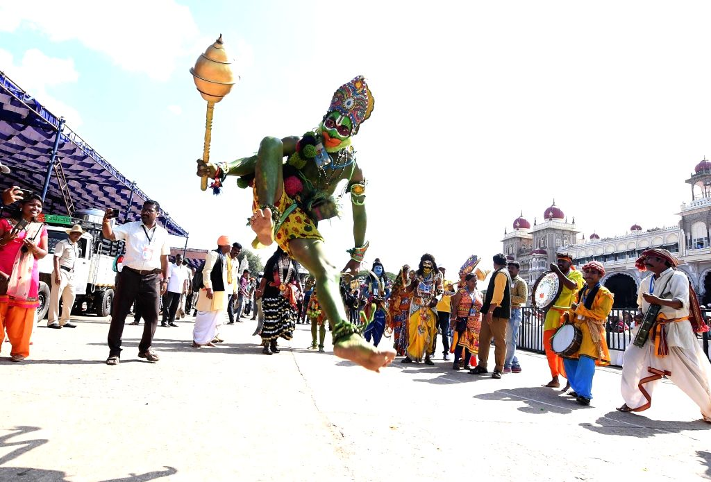 Artistes participate in Dasara procession in Mysuru, on Oct 8, 2019.