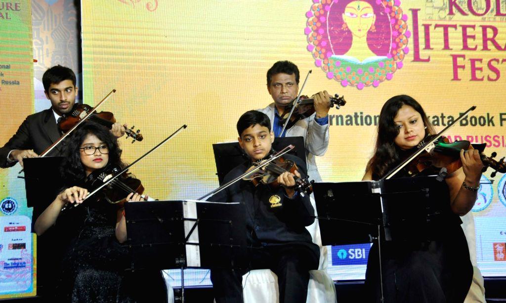 Artistes perform at 'Kolkata Literature Festival' during 44th International Kolkata Book Fair, on Feb 6, 2020.